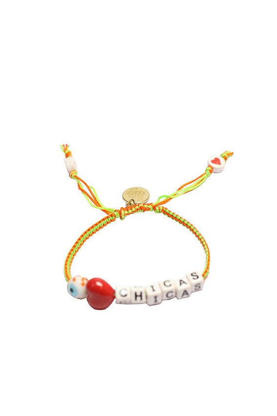 Venessa Arizaga - I love chicas bracelet, gold plated brass hardware with neon threadwork and ceramic bead