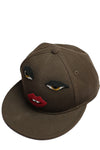 Macha Brown Cotton Cap with Eyes and Lips