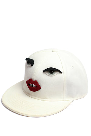 Macha White Cotton Cap with Eyes and Lips