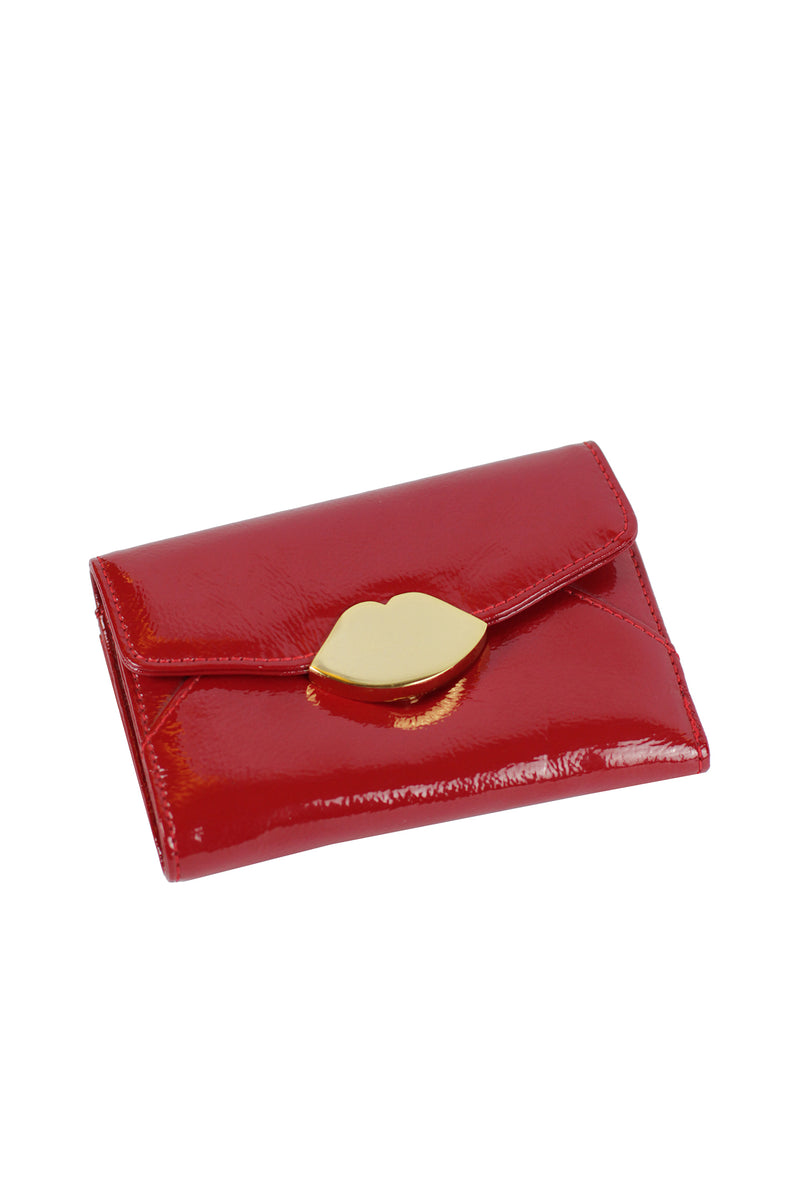 Lulu Guinness - Red Crinkle Patent Leather Sml Bifold Wallet