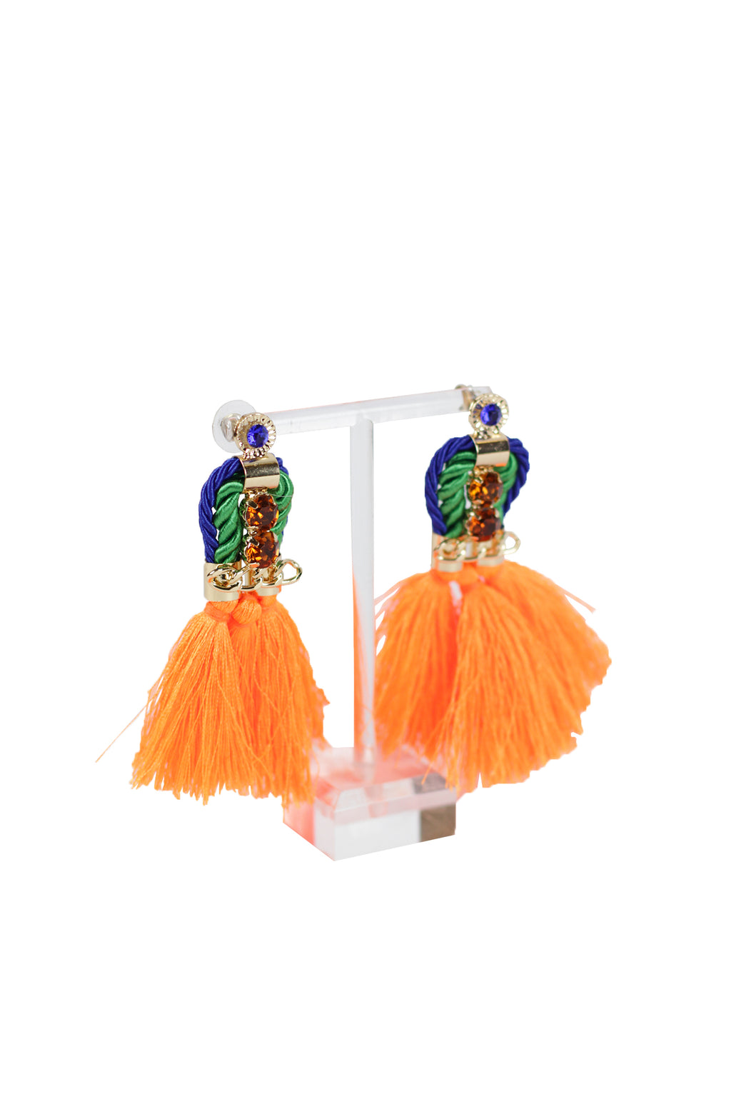 Shadow - Orange tassel earring with blue and orange studs
