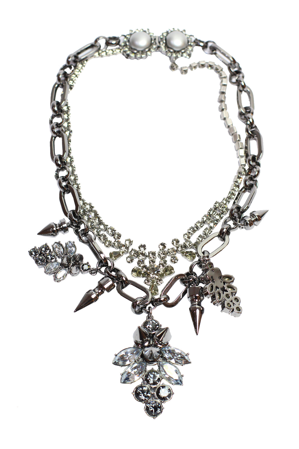 Mawi - Layered Necklace with Crystal Clusters and Spikes
