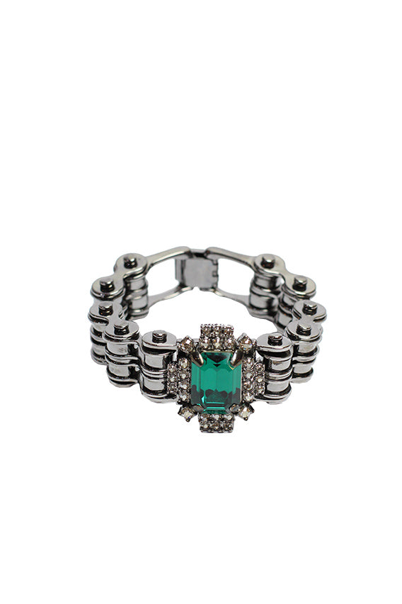 Mawi - Bike chain ID bracelet with crystal center Hematite plated