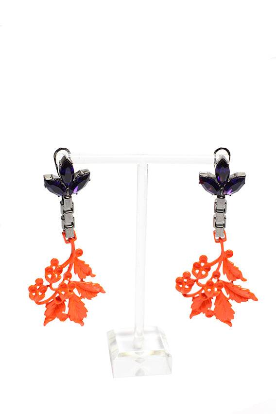 Mawi - Crystal and neon leaf earrings 1