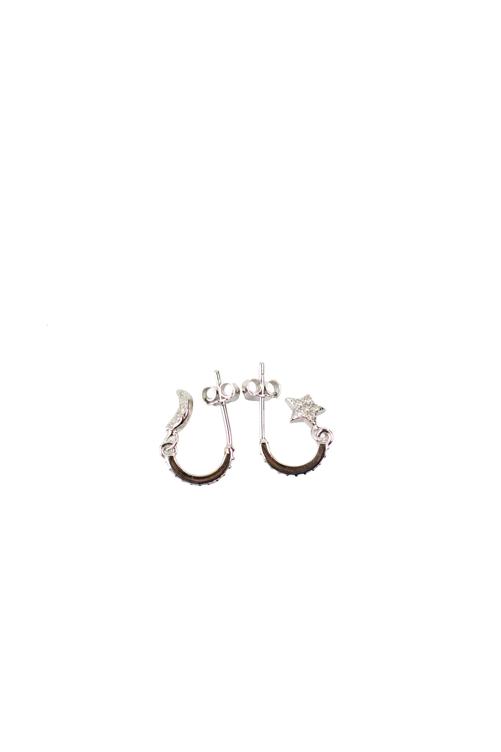 Shadow -  White plated w/ Moon and Star white stone  Earrings