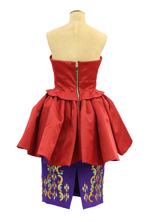 Saxit - Tube red top and purple skirt dress