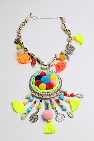 Shell necklace with multi color pompoms pendant