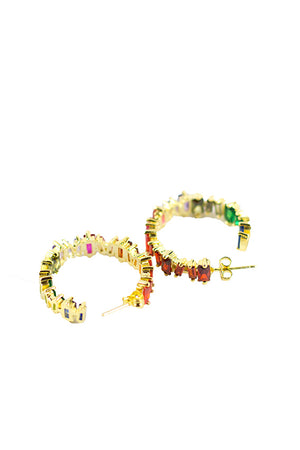 Shadow - Big multi color earrings gold