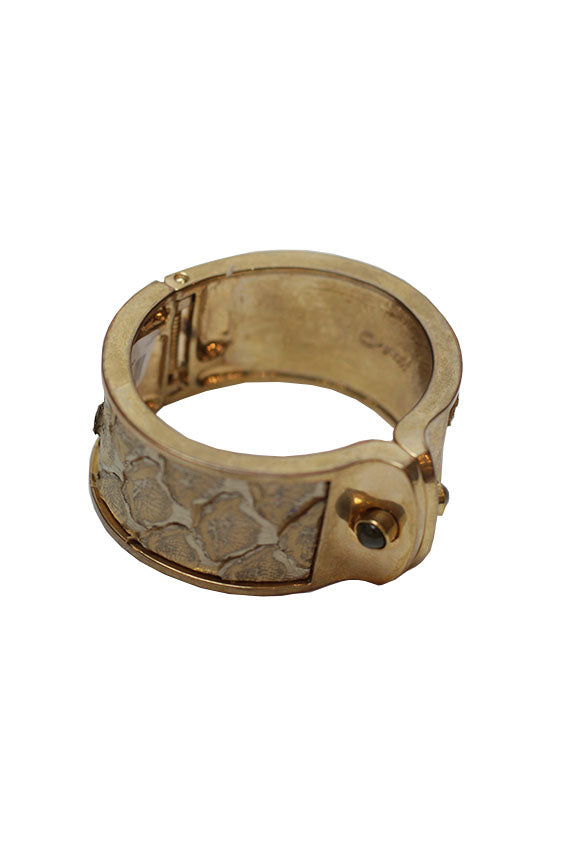 Kara Ross - Small Shirt Bracelet Gold With Bronze/Gold Python