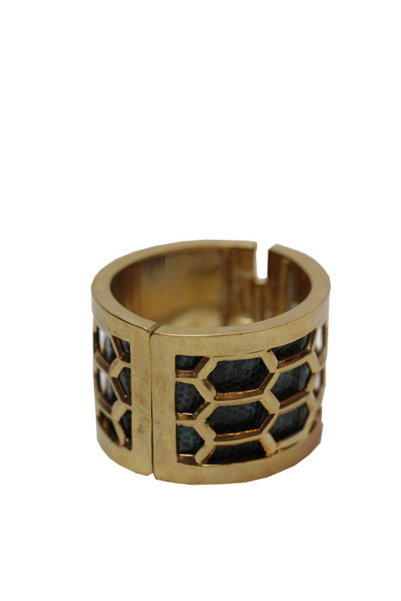Kara Ross - Honeycomb Bracelet-Gold with Teal Ring Lizard
