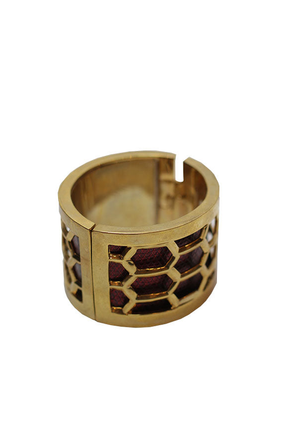Kara Ross - Honeycomb Bracelet-Gold with Ruby Red Lizard