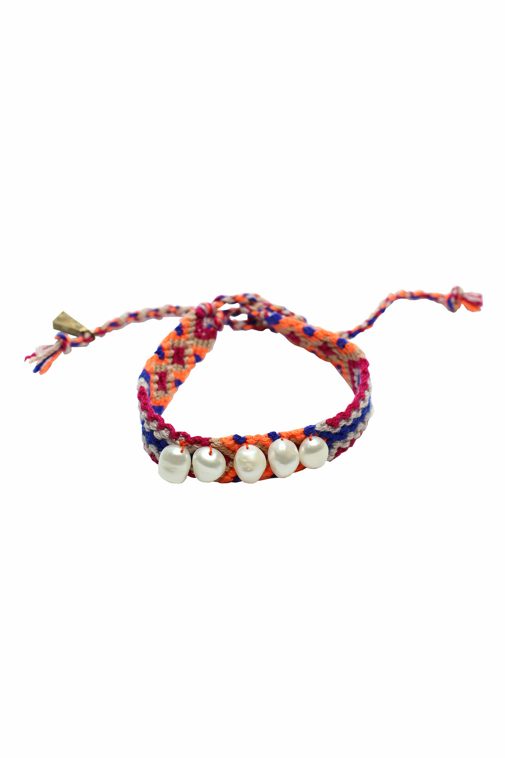 Lucy Folk - Multi color cotton pearlier friendship band with gold lock plated bracelet