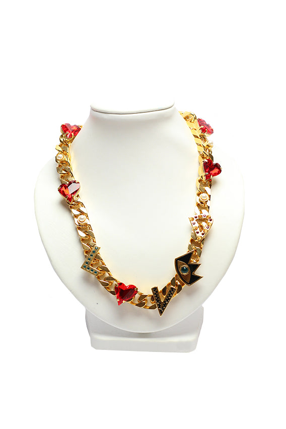 Maria Francesca Pepe - Chunky chain love necklace 43 cm gold plated multicolor