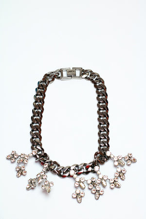 Mawi - Hematite crystal blossom necklace