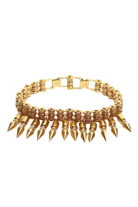 Mawi -  Rose-gold plated bike chain choker with spikes