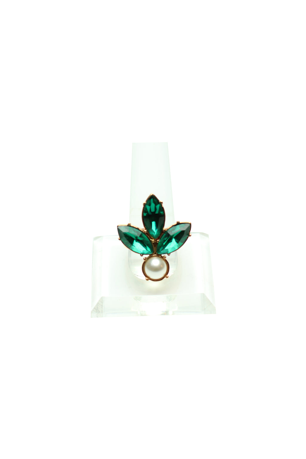Mawi - Crystal Leaf Ring with Pearls Size 54