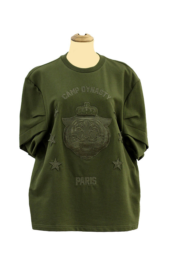 Sculpture - Volume sleeved cotton t-shirt with embroidery detail