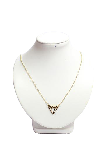 Flat subulate triangle shaped necklace in plated gold