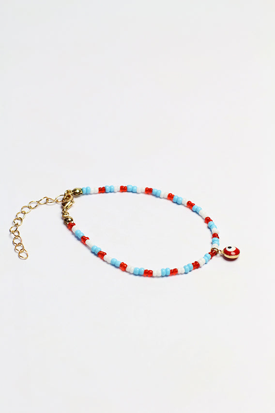 Multi color beads bracelet with red eye pendant