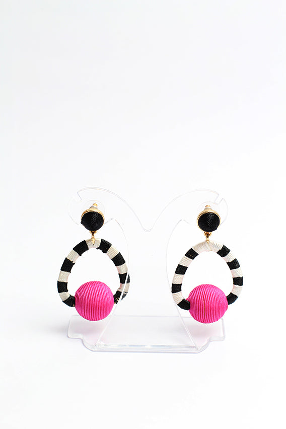 Black / white stripe with round pink earring