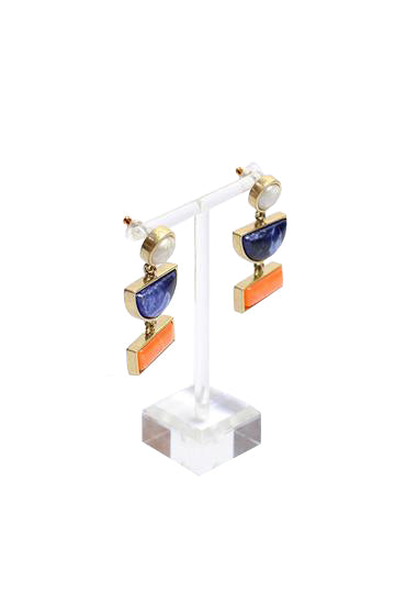 Shadow - Shape long earring (white/blue/orange)