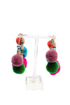 Multi color big hop round earrings pompoms