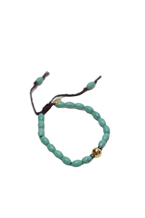 Tai Jewelry - Seed rice turquoise with hammer gold ball, SO CZ spacer bracelet