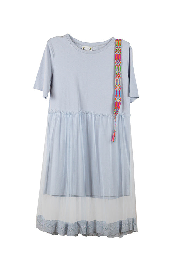 Fried Chicken - Light blue dress with friendship bracelet on the shoulder & see-through skirt