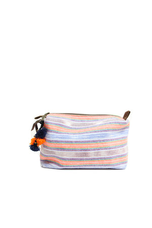 Handwoven cosmetic bag - orange / indigo