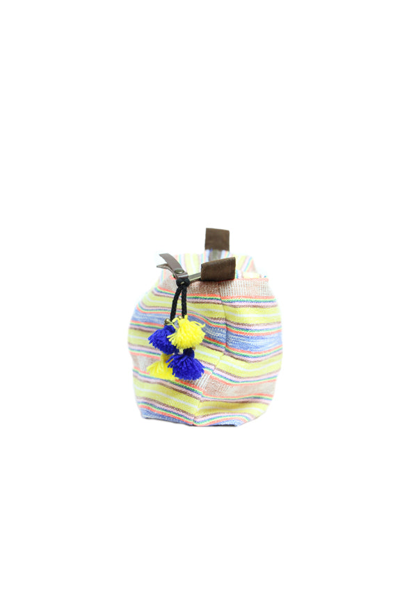 Handwoven cosmetics bag - yellow