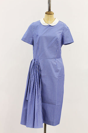 Ludmilla Corlateanu - Stripe blue round neck short dress