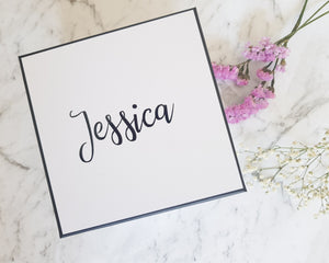 Calligraphy Font Personalised White Black Gift Box