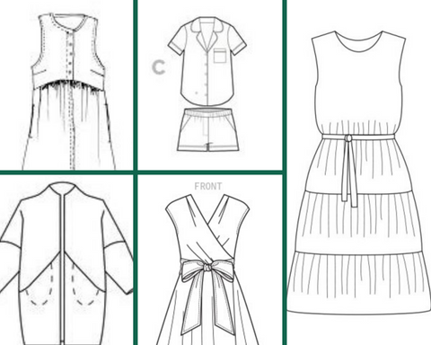 My summer sewing plans: Lisa dress, Carolyn Pj's, Sapporo coat, Mccalls dress and Violette dress