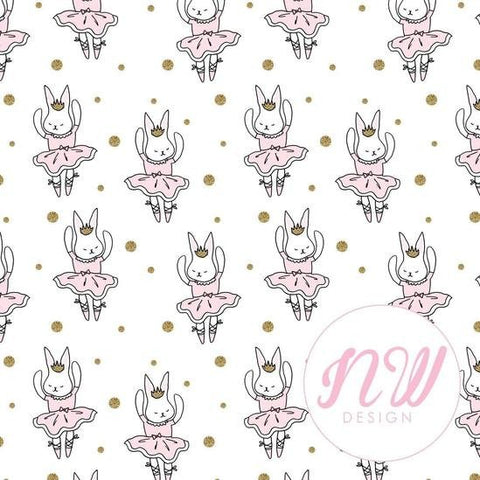 Pysselnabon - Rabbit Ballerina White BY THE METRE