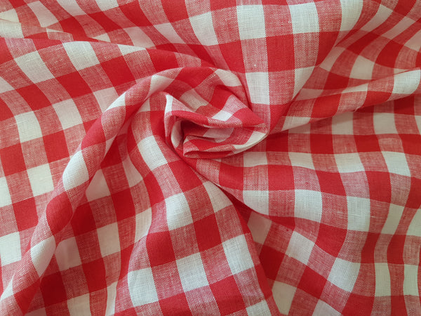 Strawberry Red Gingham Linen