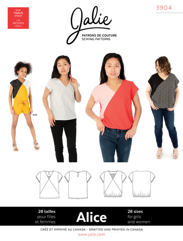 Jalie 3904 - ALICE V-Neck Blouse - Seamstress Fabrics