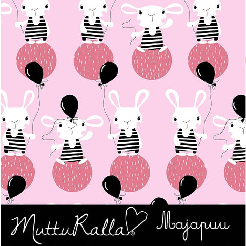 Majapuu - Shy Bunnies Pink Jersey BY THE METRE