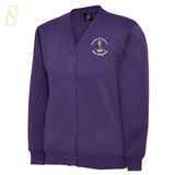 Mount Primary School Cardigan, purple sweatshirt cardigan with pockets - The Schoolwear Outlet - Shop Now