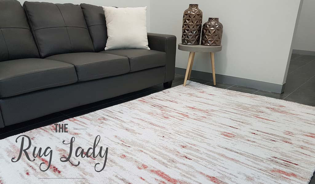 Contemporary Peach Cream Abstract Lines Rug