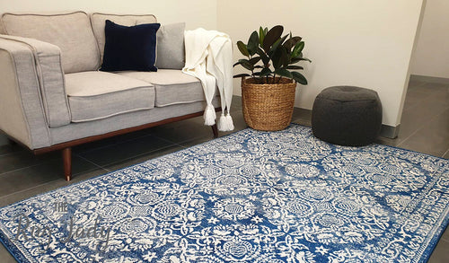 Mystique Navy Blue Suzani Prints Transitional Rug