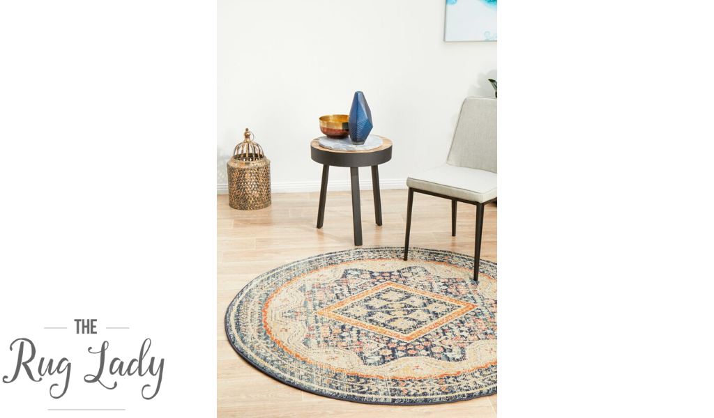 Heirloom Navy Blue Geometric Medallion Round Rug