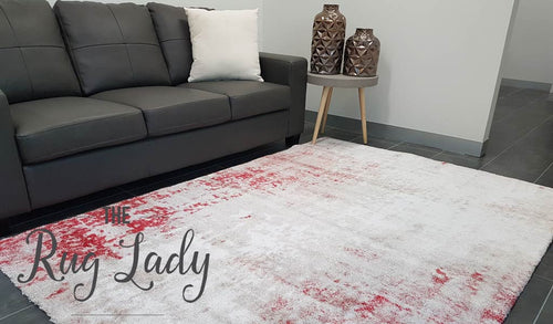 Contemporary Red Grey Abstract Pattern Rug