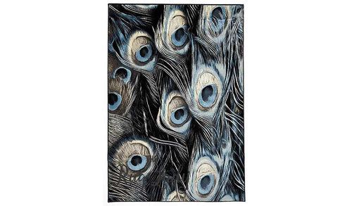 Odyssey Blue Black Feathers Bone Pattern Rug