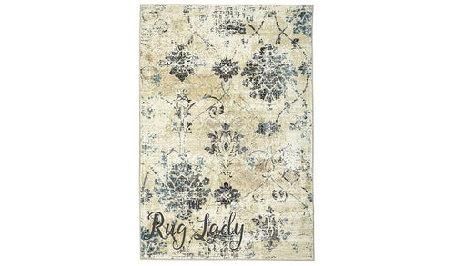 Odyssey Faded Cream Blue Damask Pattern Rug