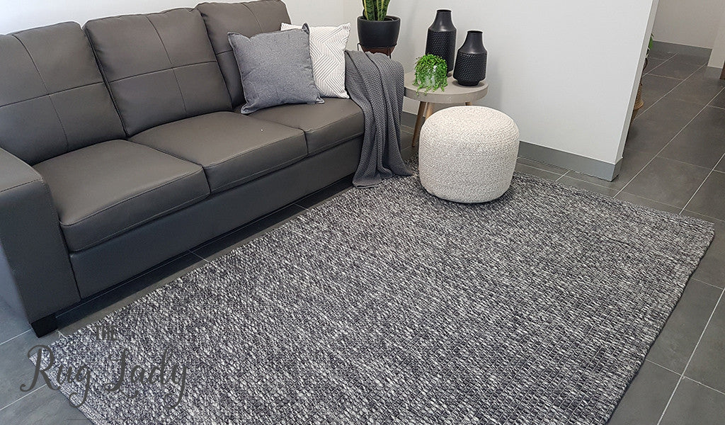 Essence Scandinavian Dark Grey Felted Wool Rug