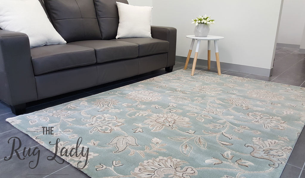 Kara Blue Cream Floral Patterned Rug