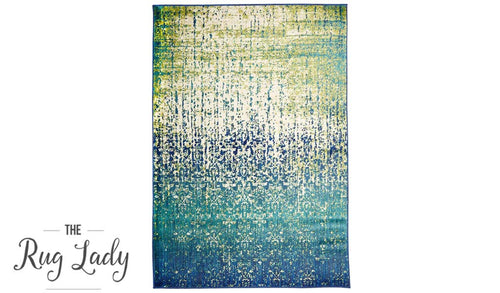 Conceptual Blue Faded Abstract Modern Rug