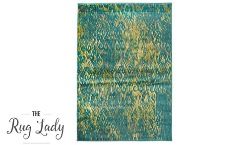 Conceptual Green Faded Ikat Modern Rug