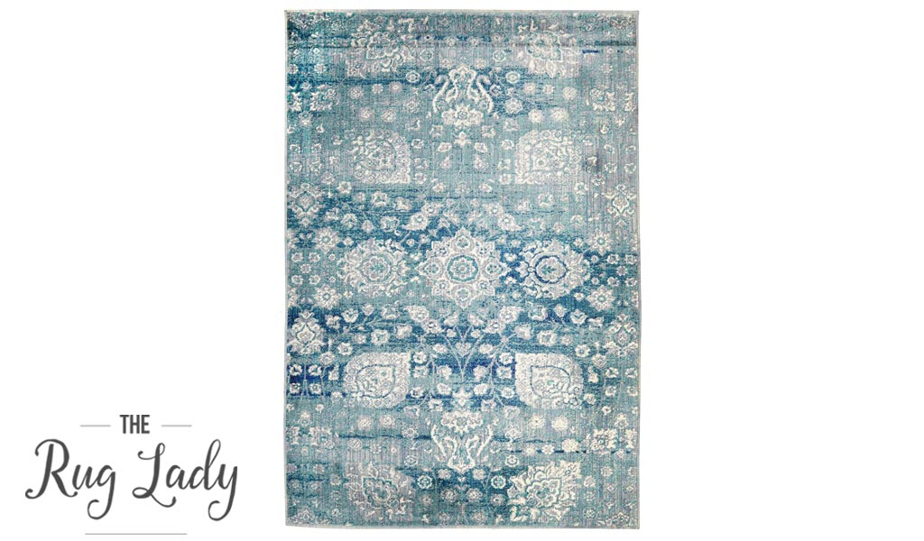 Conceptual Light Blue Paisley Pattern Rug