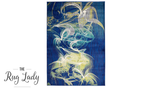Conceptual Navy Blue Ink Drop Abstract Rug